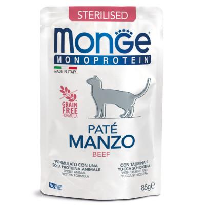 Monge Cat Monoprotein Pouch STERILISED Beef паучи для стерилизованных кошек с говядиной 85 гр арт.70013741