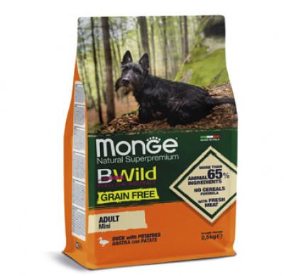 Monge Dog BWild GRAIN FREE Mini беззерновой корм из мяса утки с картофелем для взрослых собак мелких пород 2,5 кг арт. 70004756