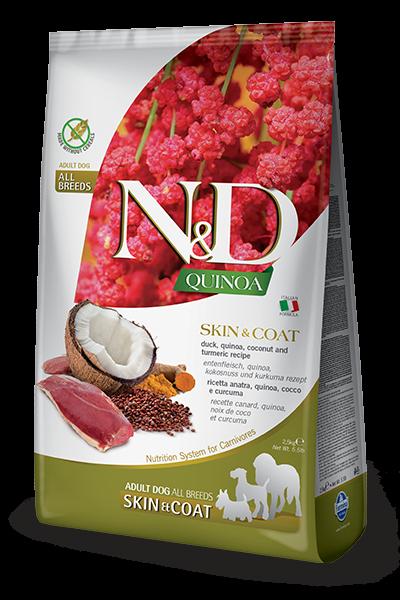 Фармина (FARMINA N&D DOG GRAIN FREE QUINOA SKIN & COAT DUCK) корм для собак для здоровья кожи и шерсти Утка с Киноа 0,8кг