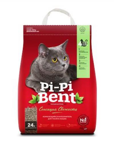 Наполнитель Pi-Pi-Bent Сенсация свежести комкующийся для кошек 10кг 24л