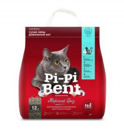 """Наполнитель Pi-Pi Bent """"Морской бриз"""" комкующийся для кошек (крафт пакет) 5кг 12л арт. 84472"""
