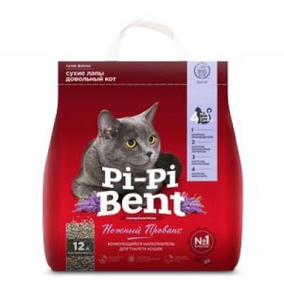 """Наполнитель Pi-Pi Bent """"Нежный прованс"""" комкующийся для кошек (крафт пакет) 5кг 12л арт. 84473"""