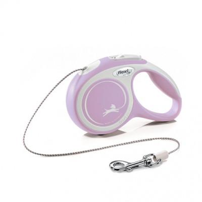-flexi рулетка NEW LINE Comfort XS (до 8 кг) трос 3 м серый/розовый арт.98042700