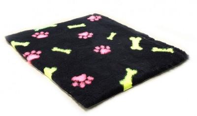 ProFleece коврик меховой Лапки и Косточки 1х1,6 м черный/розовый/желтый арт.PF021