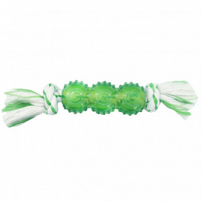 CanineClean игрушка для собак Палочка синтетическая резина с канатом 25 см с ароматом мяты, зеленый арт.WB15434G