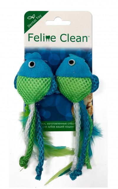 Feline Clean игрушка для кошек Dental Рыбки, ленты и перья (2 шт.) арт.WB23542