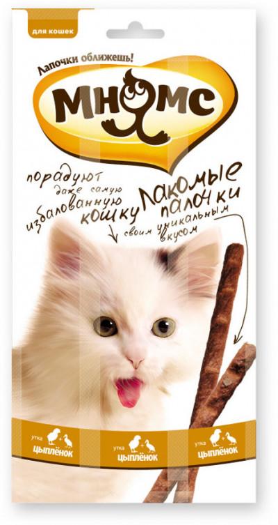 -Мнямс лакомые палочки 13,5 см для кошек с цыпленком и уткой 3х5 г