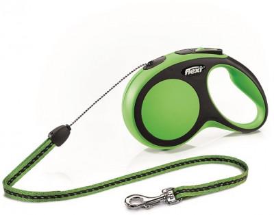 -flexi рулетка New Comfort S (до 12 кг) трос 8 м черный/зеленый