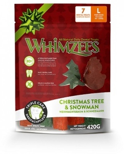 -Whimzees Новогодний Микс (елочки/ снеговики) для собак L 7 шт в пакете