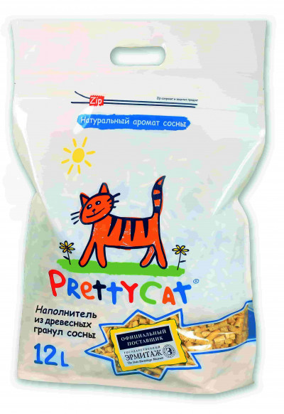 """-PrettyCat наполнитель древесный для кошачьих туалетов """"Wood Granules"""" 4 кг (12 л)"""
