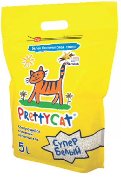 """PrettyCat наполнитель комкующийся для кошачьих туалетов """"Супер белый"""" с ароматом ванили 4,2 кг (5 л)"""