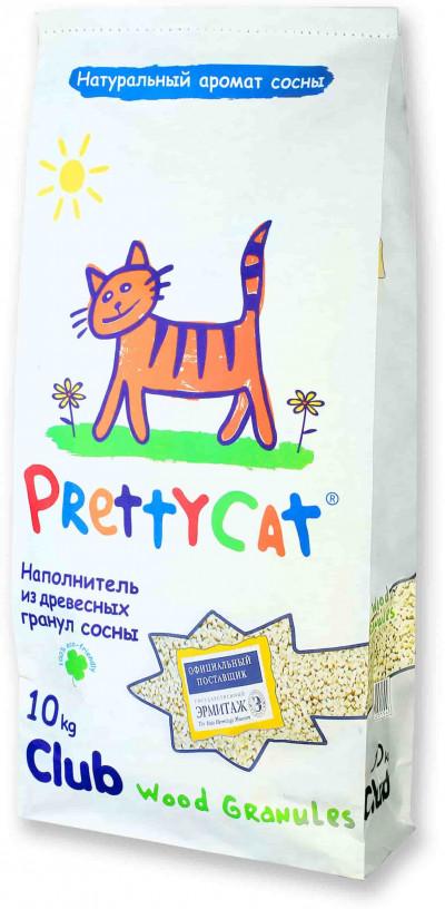 """PrettyCat Наполнитель древесный для кошачьих туалетов """"Wood Granules""""10 кг"""