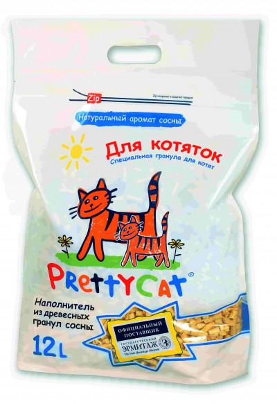 """-PrettyCat наполнитель древесный для котят """"Wood Granules"""" 12 л"""