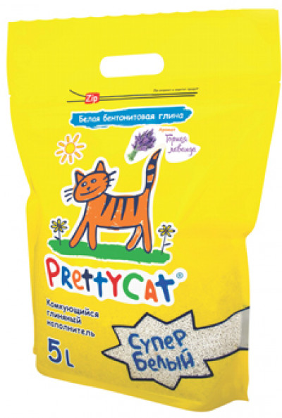 """PrettyCat наполнитель комкующийся для кошачьих туалетов """"Cупер белый"""" с ароматом лаванды 4,2 кг (5 л)"""