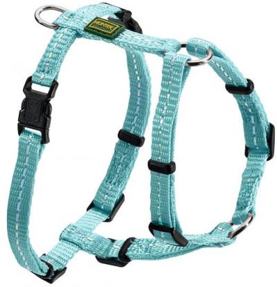 Hunter шлейка для собак Tripoli 32-44 см, нейлон св. голубая, светоотражающая