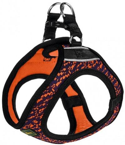 -Hunter шлейка для собак Hilo Soft Comfort 33-36 см, сетчатый текстиль, оранжево-синяя
