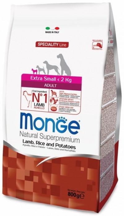 Monge Dog Speciality Extra Small корм для взрослых собак миниатюрных пород ягненок с рисом и картофелем 800г