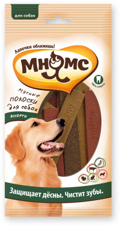 Мнямс Мясные полоски для собак ассорти, 12 шт. х 10 г