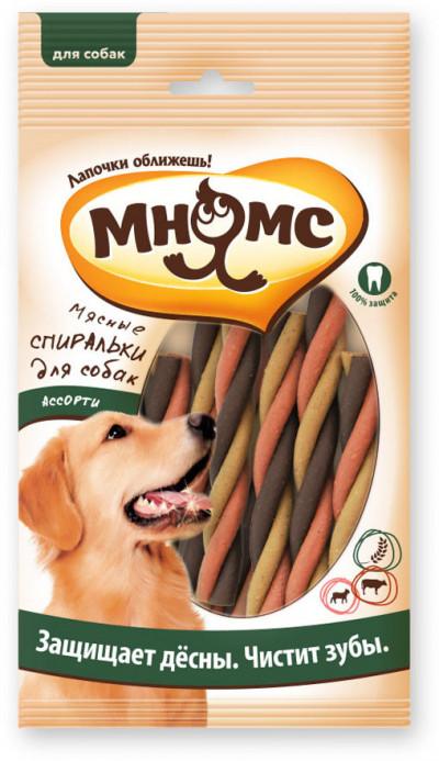 Мнямс Мясные спиральки для собак ассорти, 6 шт. х 20 г