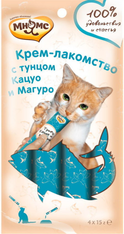 -Мнямс Крем-лакомство для кошек с тунцом Кацуо и Магуро 15 г х 4 шт.