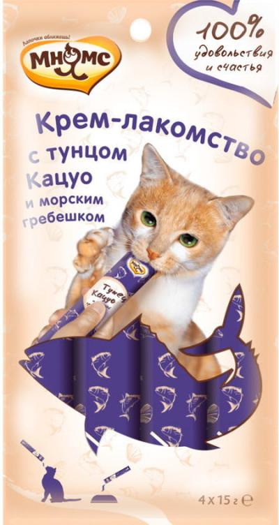 -Мнямс Крем-лакомство для кошек с тунцом Кацуо и морским гребешком 15 г х 4 шт.