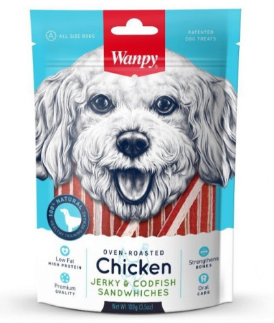 -Wanpy Dog курица с треской в форме сэндвича 100 г