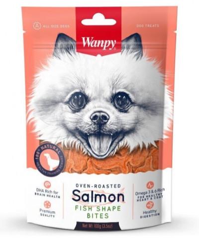 -Wanpy Dog лакомые кусочки из нежного лосося в форме рыбок 100 г