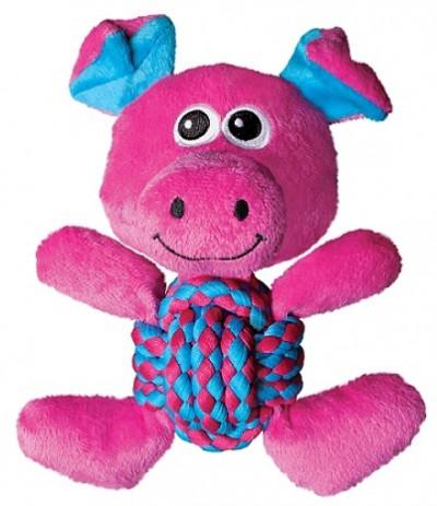 -KONG игрушка для собак Weave Knots Свинка средняя 22х20 см